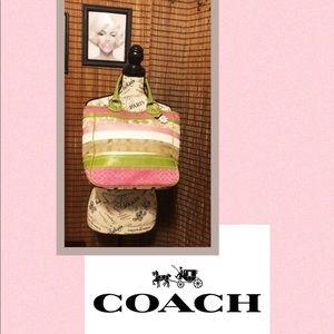 🌸 COACH Pink Green Patchwork Stripes Bleecker